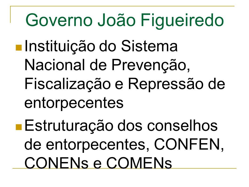 Governo João Figueiredo Instituição do Sistema Nacional de Prevenção, Fiscalização e Repressão de entorpecentes Estruturação dos conselhos de entorpecentes, CONFEN, CONENs e COMENs