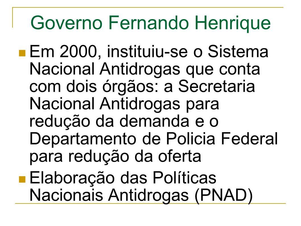 Governo Fernando Henrique Em 2000, instituiu-se o Sistema Nacional Antidrogas que conta com dois órgãos: a Secretaria Nacional Antidrogas para redução da demanda e o Departamento de Policia Federal para redução da oferta Elaboração das Políticas Nacionais Antidrogas (PNAD)