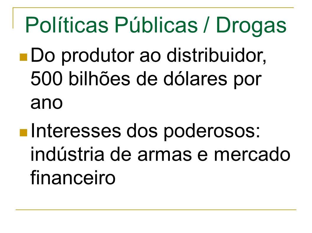 Políticas Públicas / Drogas Do produtor ao distribuidor, 500 bilhões de dólares por ano Interesses dos poderosos: indústria de armas e mercado financeiro