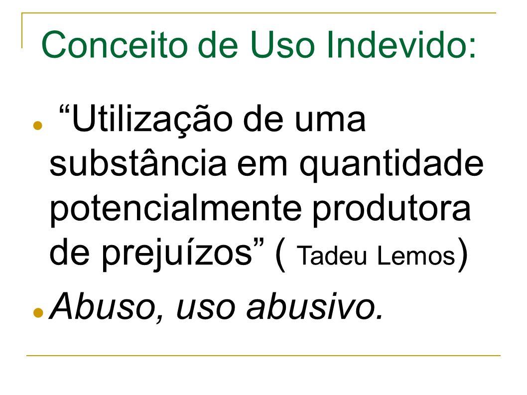 Utilização de uma substância em quantidade potencialmente produtora de prejuízos ( Tadeu Lemos ) Abuso, uso abusivo.