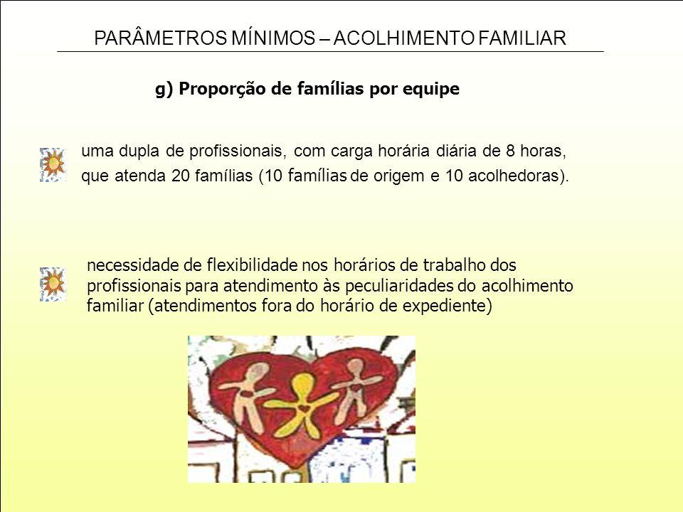 PARÂMETROS MÍNIMOS – ACOLHIMENTO FAMILIAR g) Proporção de famílias por equipe uma dupla de profissionais, com carga horária diária de 8 horas, que ate