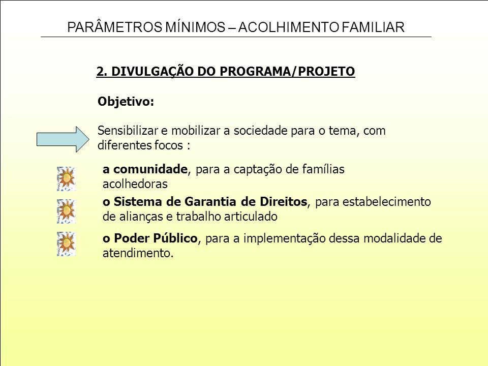 PARÂMETROS MÍNIMOS – ACOLHIMENTO FAMILIAR 2. DIVULGAÇÃO DO PROGRAMA/PROJETO o Poder Público, para a implementação dessa modalidade de atendimento. Obj