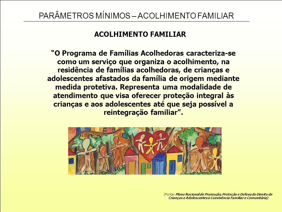 PARÂMETROS MÍNIMOS – ACOLHIMENTO FAMILIAR ACOLHIMENTO FAMILIAR O Programa de Famílias Acolhedoras caracteriza-se como um serviço que organiza o acolhi