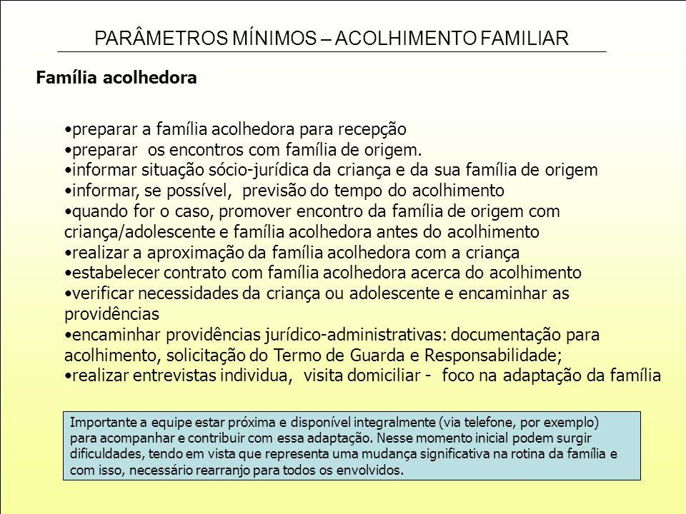 PARÂMETROS MÍNIMOS – ACOLHIMENTO FAMILIAR Família acolhedora preparar a família acolhedora para recepção preparar os encontros com família de origem.
