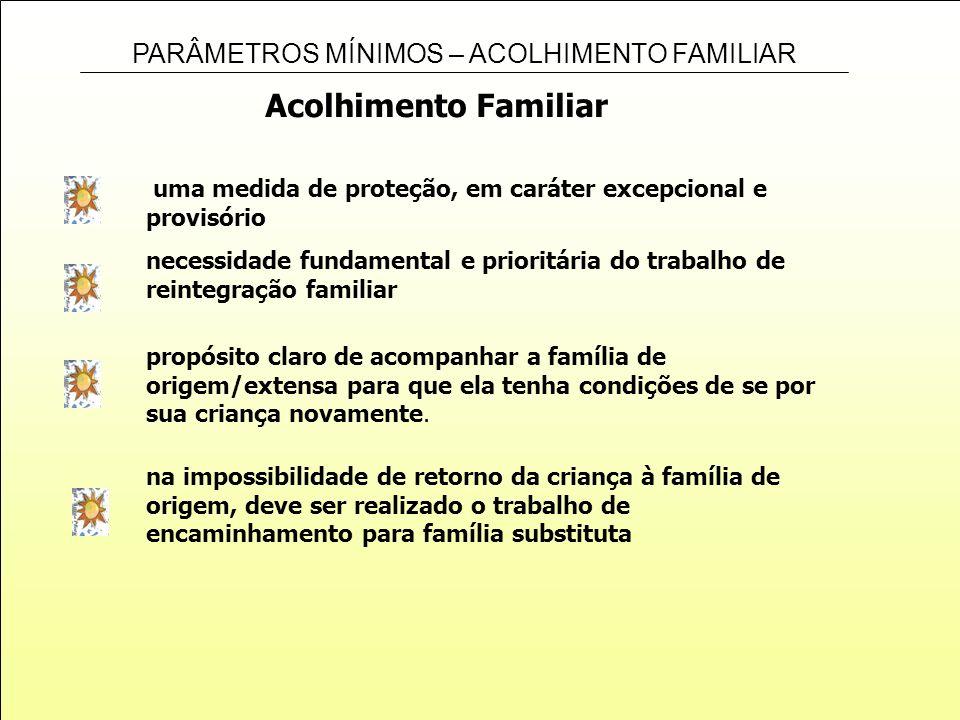 PARÂMETROS MÍNIMOS – ACOLHIMENTO FAMILIAR Acolhimento Familiar uma medida de proteção, em caráter excepcional e provisório propósito claro de acompanh