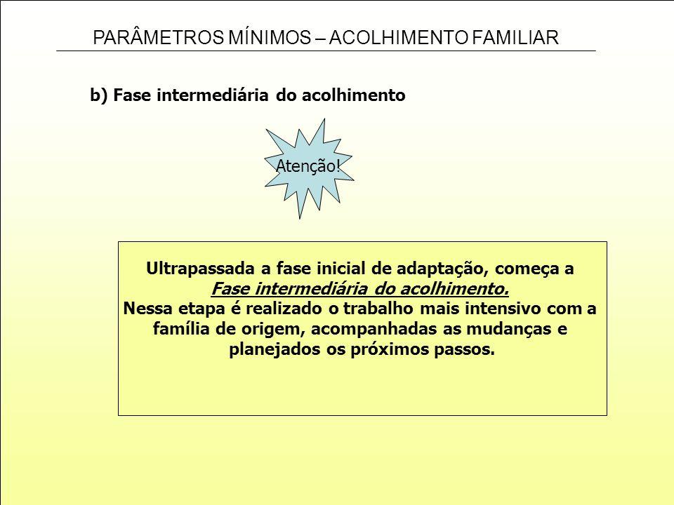 PARÂMETROS MÍNIMOS – ACOLHIMENTO FAMILIAR b) Fase intermediária do acolhimento Ultrapassada a fase inicial de adaptação, começa a Fase intermediária d