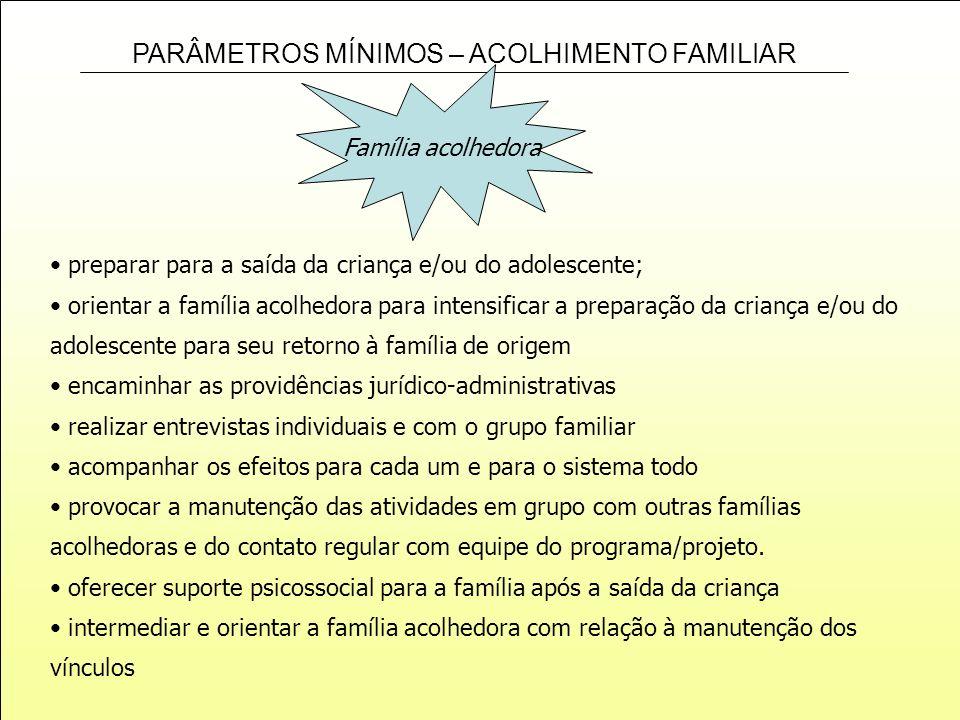 PARÂMETROS MÍNIMOS – ACOLHIMENTO FAMILIAR Família acolhedora preparar para a saída da criança e/ou do adolescente; orientar a família acolhedora para