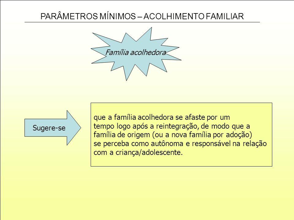 PARÂMETROS MÍNIMOS – ACOLHIMENTO FAMILIAR Família acolhedora que a família acolhedora se afaste por um tempo logo após a reintegração, de modo que a f