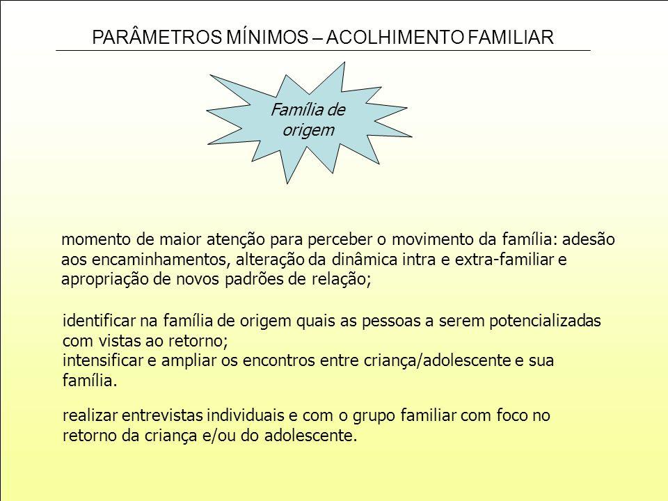 PARÂMETROS MÍNIMOS – ACOLHIMENTO FAMILIAR Família de origem momento de maior atenção para perceber o movimento da família: adesão aos encaminhamentos,