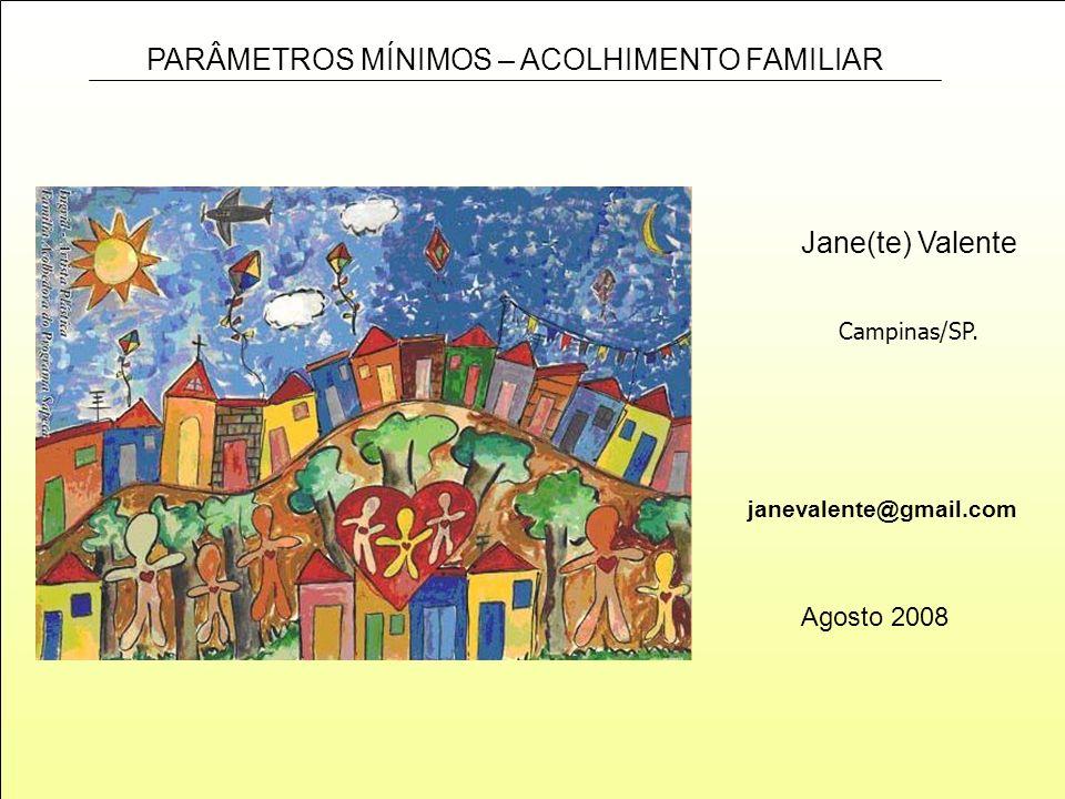 PARÂMETROS MÍNIMOS – ACOLHIMENTO FAMILIAR janevalente@gmail.com Jane(te) Valente Agosto 2008 Campinas/SP.