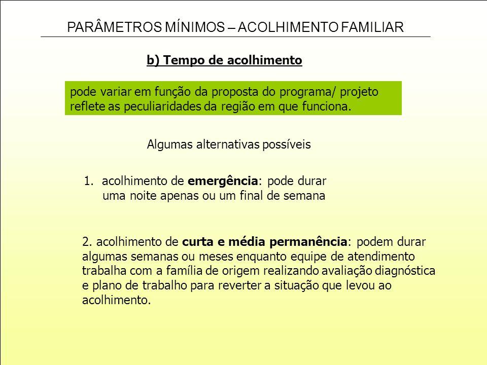 PARÂMETROS MÍNIMOS – ACOLHIMENTO FAMILIAR pode variar em função da proposta do programa/ projeto reflete as peculiaridades da região em que funciona.