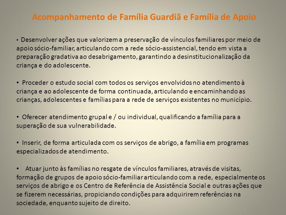 Acompanhamento de Família Guardiã e Família de Apoio Desenvolver ações que valorizem a preservação de vínculos familiares por meio de apoio sócio-fami