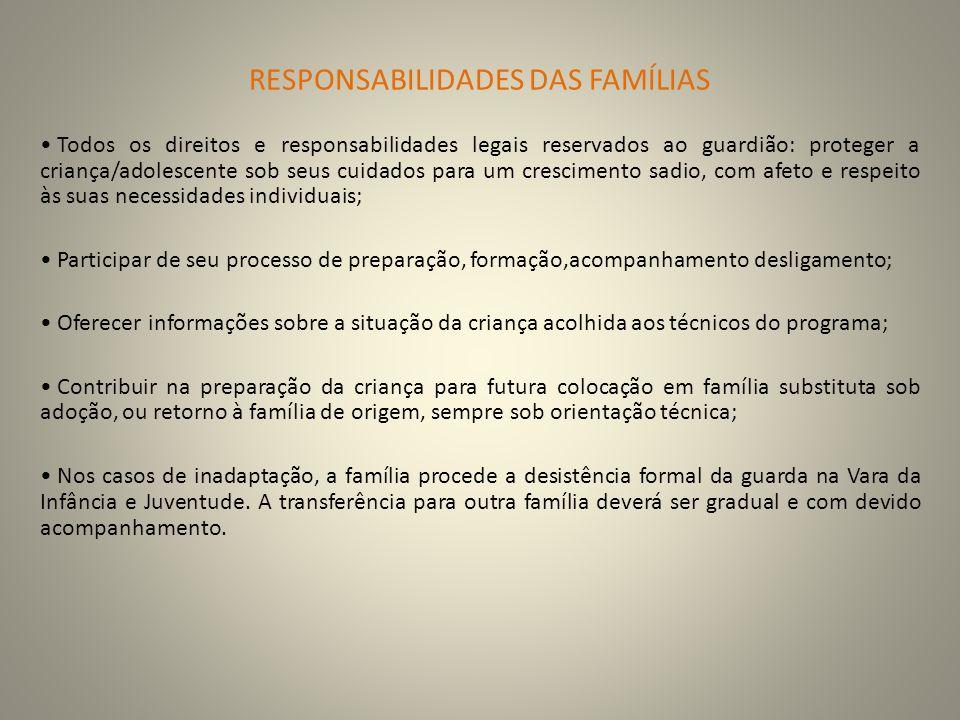 RESPONSABILIDADES DAS FAMÍLIAS Todos os direitos e responsabilidades legais reservados ao guardião: proteger a criança/adolescente sob seus cuidados p