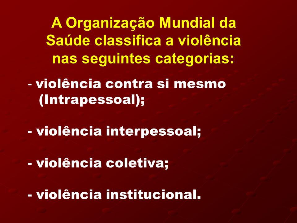 A Organização Mundial da Saúde classifica a violência nas seguintes categorias: - violência contra si mesmo (Intrapessoal); - violência interpessoal;