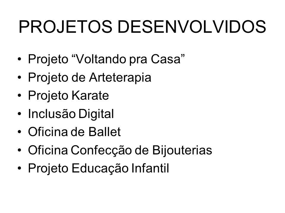 PROJETOS DESENVOLVIDOS Projeto Voltando pra Casa Projeto de Arteterapia Projeto Karate Inclusão Digital Oficina de Ballet Oficina Confecção de Bijouterias Projeto Educação Infantil