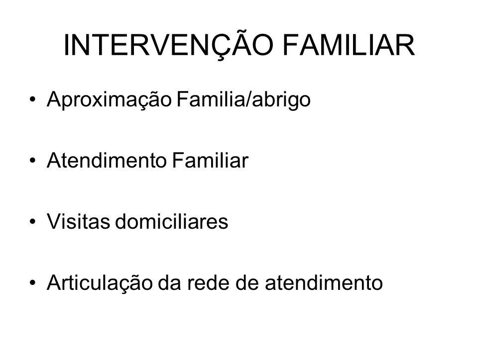 INTERVENÇÃO FAMILIAR Aproximação Familia/abrigo Atendimento Familiar Visitas domiciliares Articulação da rede de atendimento