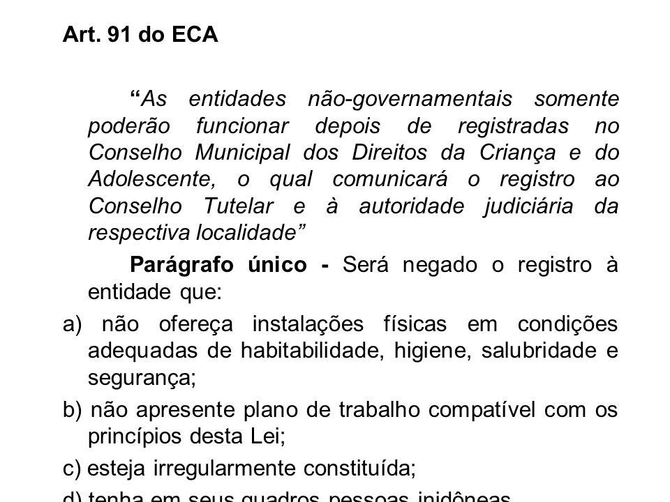 Art. 91 do ECA As entidades não-governamentais somente poderão funcionar depois de registradas no Conselho Municipal dos Direitos da Criança e do Adol