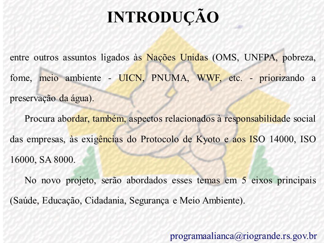 INTRODUÇÃO C) Descrição do Programa O Programa Aliança, que se assemelha a um guarda-chuva abrigando e protegendo atividades e diretrizes na busca dos