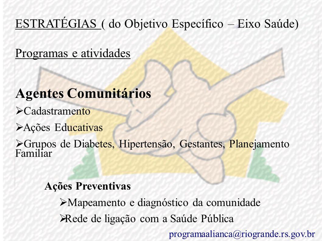 ESTRATÉGIAS ( do Objetivo Específico – Eixo Saúde) Programas e atividades PIM – Primeira Infância Melhor Censo Diagnóstico da Comunidade e das família