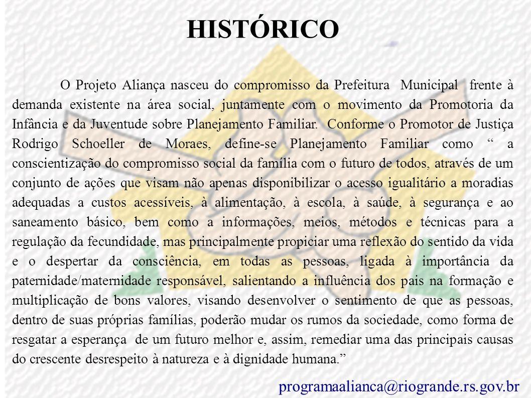 HISTÓRICO O Projeto Aliança nasceu do compromisso da Prefeitura Municipal frente à demanda existente na área social, juntamente com o movimento da Promotoria da Infância e da Juventude sobre Planejamento Familiar.