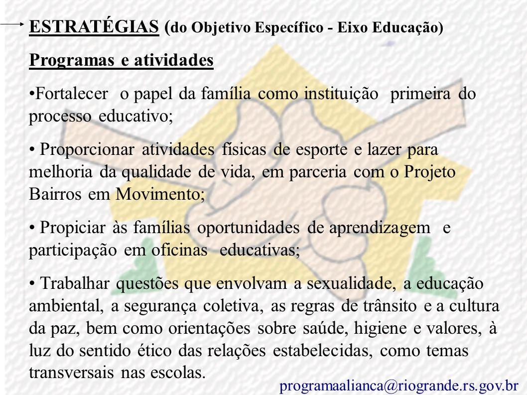 ESTRATÉGIAS ( do Objetivo Específico - Eixo Educação) Programas e atividades Propiciar reuniões, oficinas, palestras, capacitações, feiras de artes e