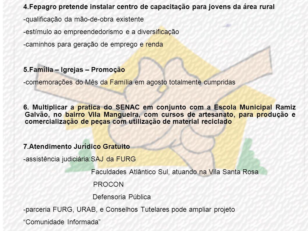 ENCAMINHAMENTOS PROPOSTOS CIDADANIA 1.Reassentamentos Humanos Urbanos -buscar maior integração nas ações e resgate/complementação de soluções anterior