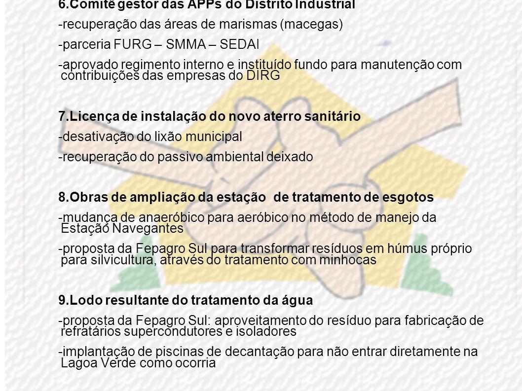 2.Plano de Manejo da Ilha dos Marinheiros -sinalização da estrada -segurança coletiva -análise de 10 pontos de captação dágua do subsolo para consumo