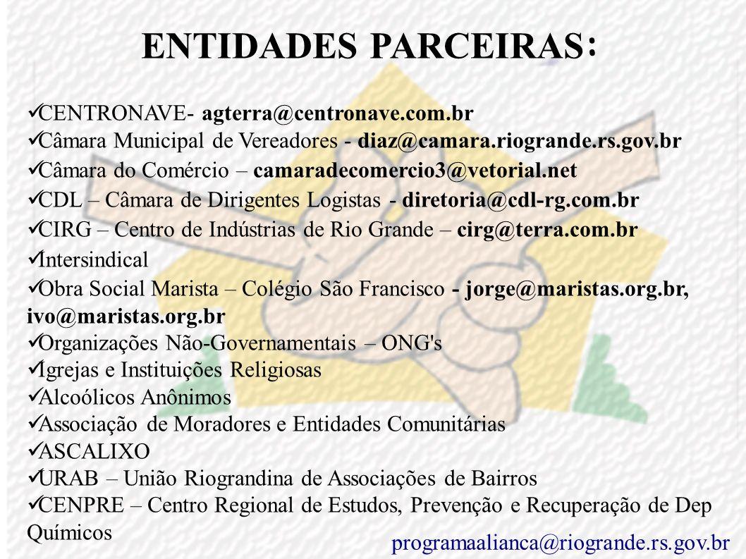 ENTIDADES PARCEIRAS : Prefeito – Janir Branco – janirbranco@riogrande.rs.gov.br Vice-Prefeito – Juarez Torronteguy – juarez@riogrande.rs.gov.br Secret