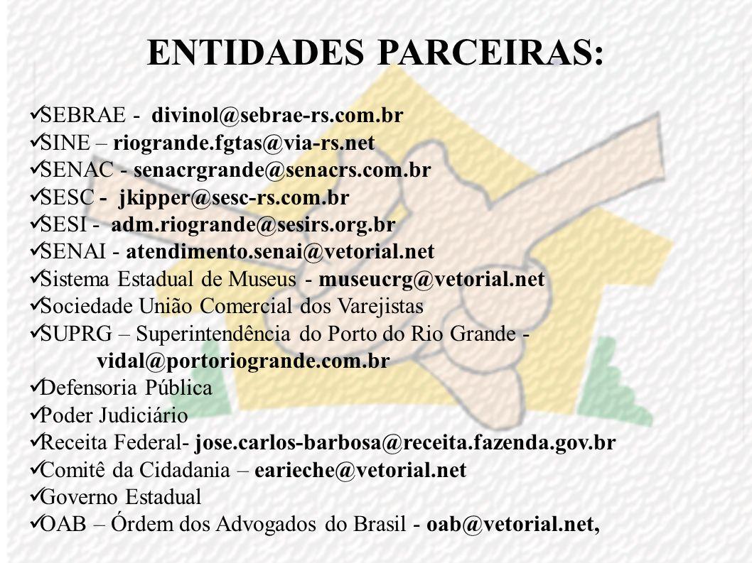 ENTIDADES PARCEIRAS: Faculdades Atlântico Sul - billa@atlanticosul.edu.br, drarg@atlanticosul.edu.br, diradmrg@atlanticosul.edu.br FURG – Fundação Uni