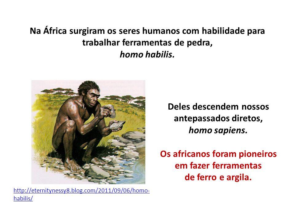 Na África surgiram os seres humanos com habilidade para trabalhar ferramentas de pedra, homo habilis. http://eternitynessy8.blog.com/2011/09/06/homo-