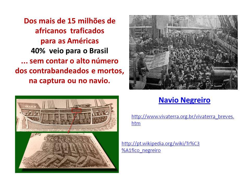 Dos mais de 15 milhões de africanos traficados para as Américas 40% veio para o Brasil... sem contar o alto número dos contrabandeados e mortos, na ca