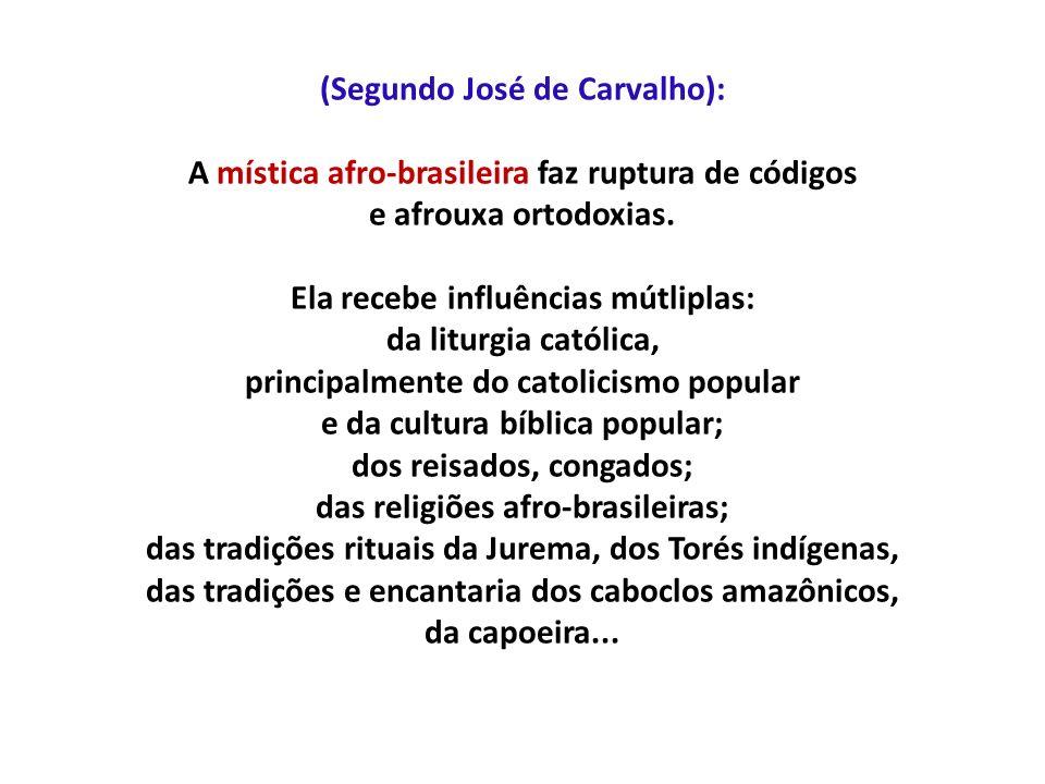 (Segundo José de Carvalho): A mística afro-brasileira faz ruptura de códigos e afrouxa ortodoxias. Ela recebe influências mútliplas: da liturgia catól