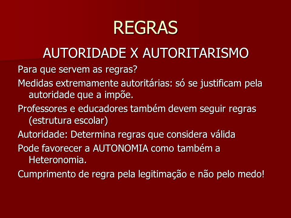 REGRAS AUTORIDADE X AUTORITARISMO Para que servem as regras? Medidas extremamente autoritárias: só se justificam pela autoridade que a impõe. Professo