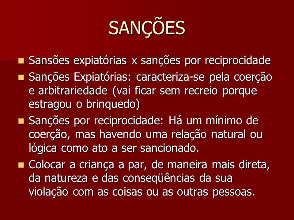 SANÇÕES Sansões expiatórias x sanções por reciprocidade Sansões expiatórias x sanções por reciprocidade Sanções Expiatórias: caracteriza-se pela coerç
