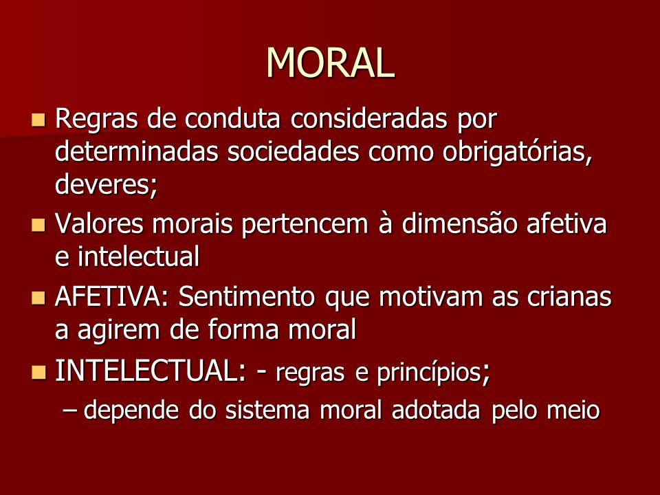 MORAL Regras de conduta consideradas por determinadas sociedades como obrigatórias, deveres; Regras de conduta consideradas por determinadas sociedade