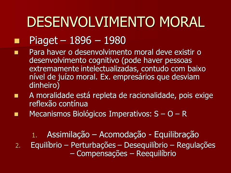 DESENVOLVIMENTO MORAL Piaget – 1896 – 1980 Piaget – 1896 – 1980 Para haver o desenvolvimento moral deve existir o desenvolvimento cognitivo (pode have