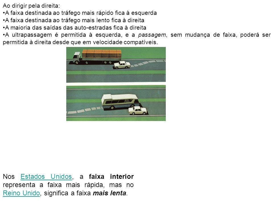 Ao dirigir pela direita: A faixa destinada ao tráfego mais rápido fica à esquerda A faixa destinada ao tráfego mais lento fica à direita A maioria das