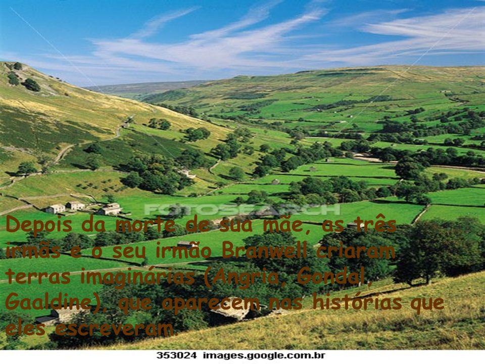 Depois da morte de sua mãe, as três irmãs e o seu irmão Branwell criaram terras imaginárias (Angria, Gondal, Gaaldine), que aparecem nas histórias que