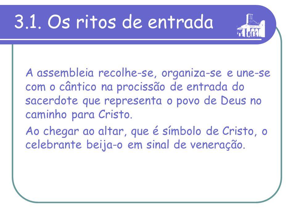 3. Como celebramos a Missa Os momentos fundamentais da cele- bração eucarística são quatro : 1)Ritos de entrada. 2)Liturgia da Palavra. 3)Liturgia euc