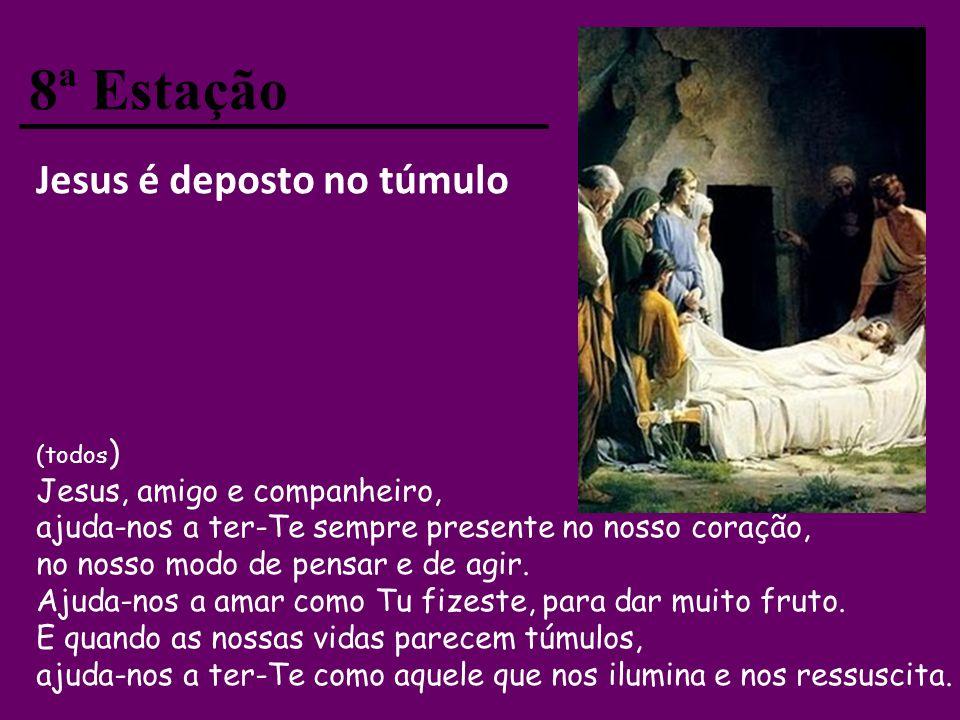7ª Estação Jesus morre na cruz (todos) Agradecemos-Te, Senhor, e adoramos-Te porque na cruz nos mostras toda a misericórdia de Deus Pai. Obrigado porq