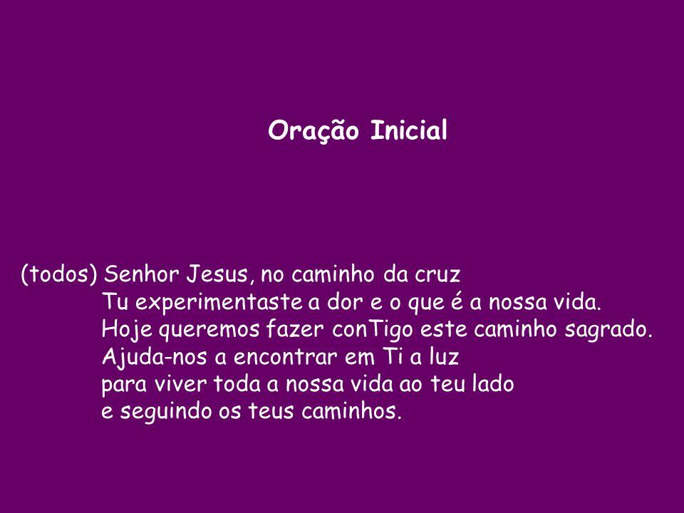 (todos) Senhor Jesus, no caminho da cruz Tu experimentaste a dor e o que é a nossa vida.