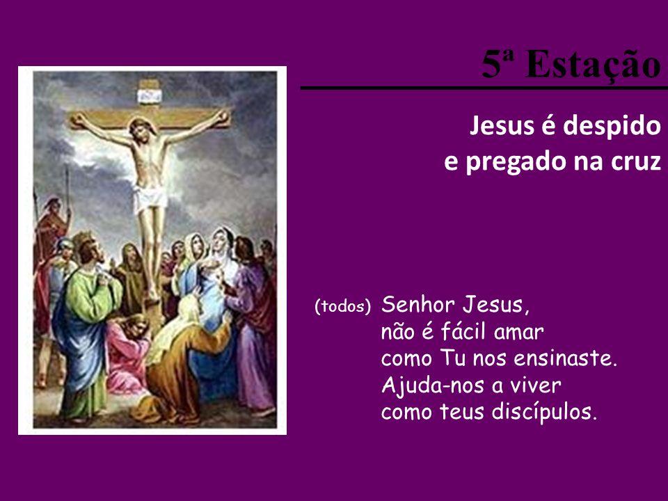 5ª Estação Jesus é despido e pregado na cruz (todos) Senhor Jesus, não é fácil amar como Tu nos ensinaste.