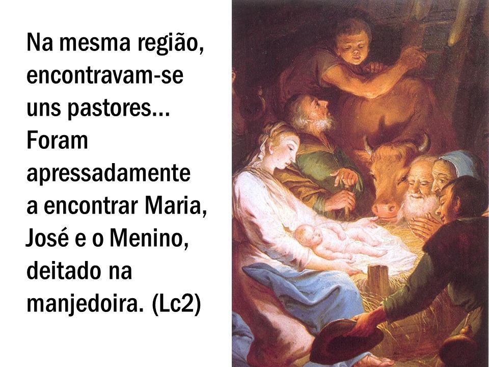 Na mesma região, encontravam-se uns pastores… Foram apressadamente a encontrar Maria, José e o Menino, deitado na manjedoira. (Lc2)