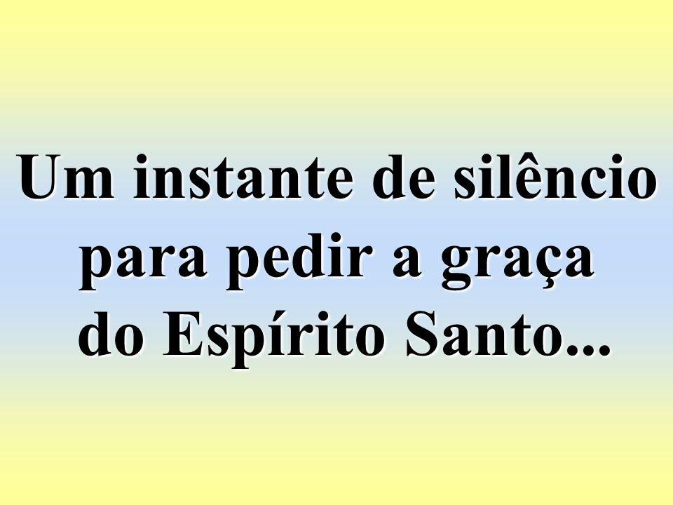 Um instante de silêncio para pedir a graça do Espírito Santo...