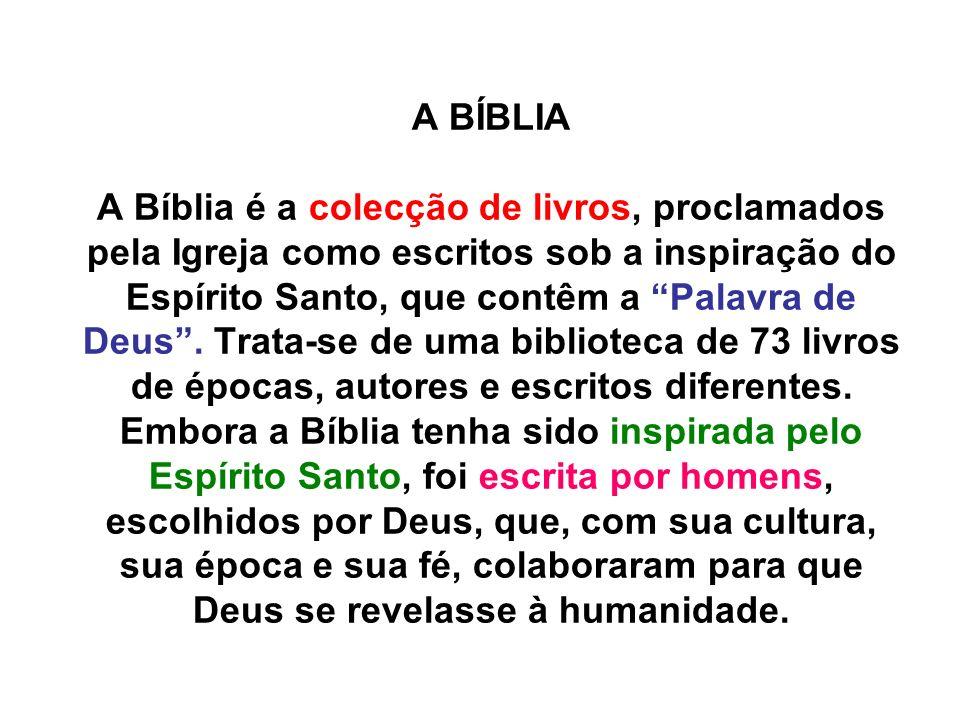 A BÍBLIA A Bíblia é a colecção de livros, proclamados pela Igreja como escritos sob a inspiração do Espírito Santo, que contêm a Palavra de Deus. Trat