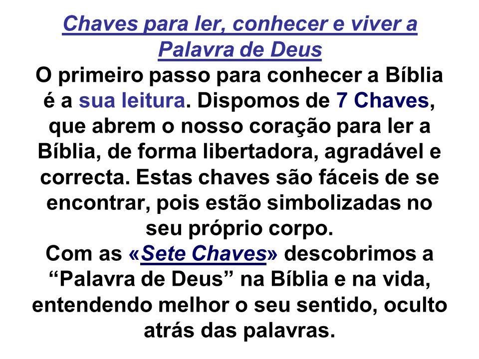 Chaves para ler, conhecer e viver a Palavra de Deus O primeiro passo para conhecer a Bíblia é a sua leitura. Dispomos de 7 Chaves, que abrem o nosso c