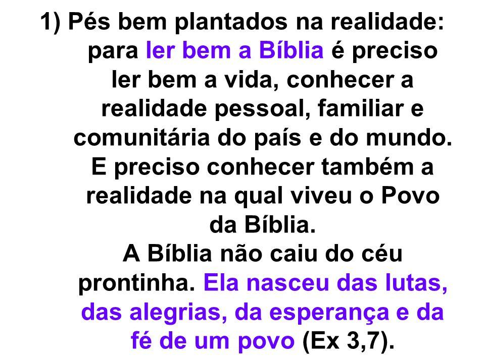 1) Pés bem plantados na realidade: para ler bem a Bíblia é preciso ler bem a vida, conhecer a realidade pessoal, familiar e comunitária do país e do m