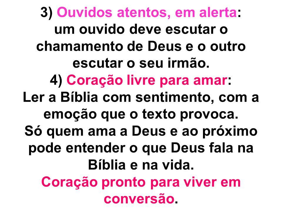 3) Ouvidos atentos, em alerta: um ouvido deve escutar o chamamento de Deus e o outro escutar o seu irmão. 4) Coração livre para amar: Ler a Bíblia com