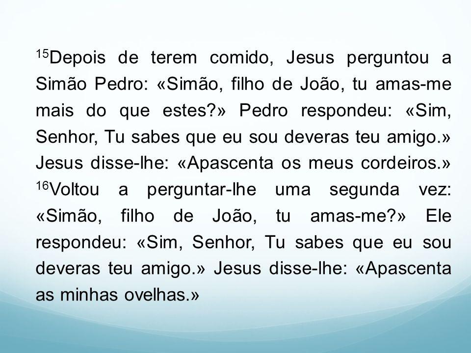 15 Depois de terem comido, Jesus perguntou a Simão Pedro: «Simão, filho de João, tu amas-me mais do que estes?» Pedro respondeu: «Sim, Senhor, Tu sabe