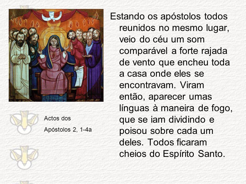 Estando os apóstolos todos reunidos no mesmo lugar, veio do céu um som comparável a forte rajada de vento que encheu toda a casa onde eles se encontra